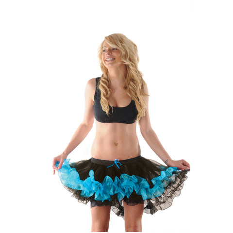Crazy Chick Black Turquoise Burlesque Ruffle TuTu Skirt Women Fancy Dress