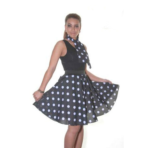 Ladies 1950's Black White Polka Dot 22 Inches Skirt Set