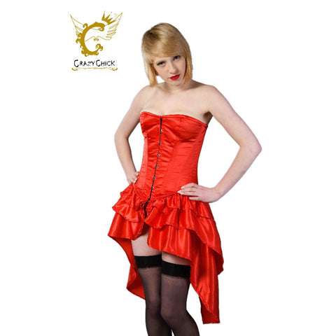 Crazy Chick Full Bust Bustle Red Steel Boned Corset
