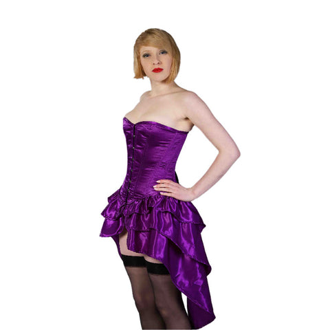Crazy Chick Fullbust Purple Steel Bone Bustle Corset