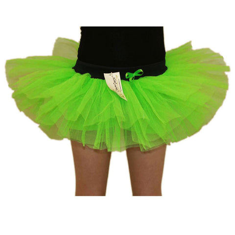 Girls 3 Layers Crazy Chick Plain Green Short TuTu Skirt