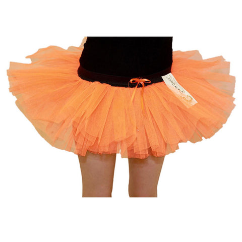 Girls 3 Layers Crazy Chick Plain Orange Short TuTu Skirt