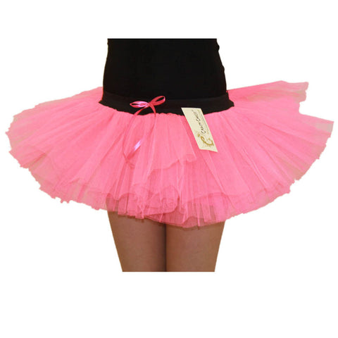 Girls 3 Layers Crazy Chick Plain Pink Short TuTu Skirt