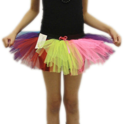Girls 3 Layers Crazy Chick Rainbow Short Angel TuTu Skirt