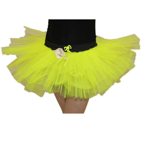 Girls 3 Layers Crazy Chick Plain Yellow Short TuTu Skirt