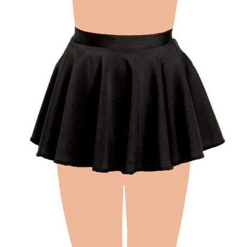 Girls Plain Black Circular Skirt All Round Pleated School Skirts