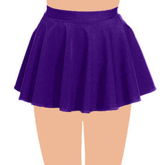 Girls Plain Purple Circular Skirt All Round Pleated School Skirts