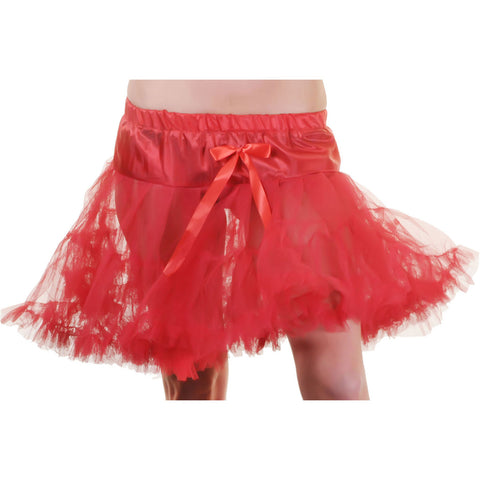 Crazy Chick Girls Red Layered Ruffle Petticoat TUTU Skirt Fancy Dress