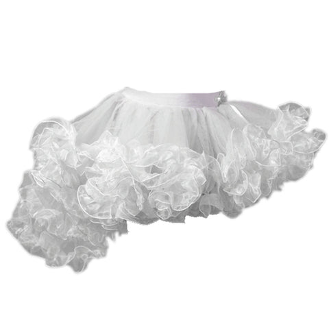 Crazy Chick Girls White Burlesque Ruffle TuTu Skirt Fancy Dress