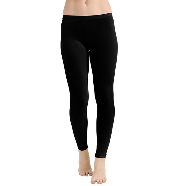 Black Ladies Women Microfiber Plain Stretchy Soft Neon Legging With Elastic Waist