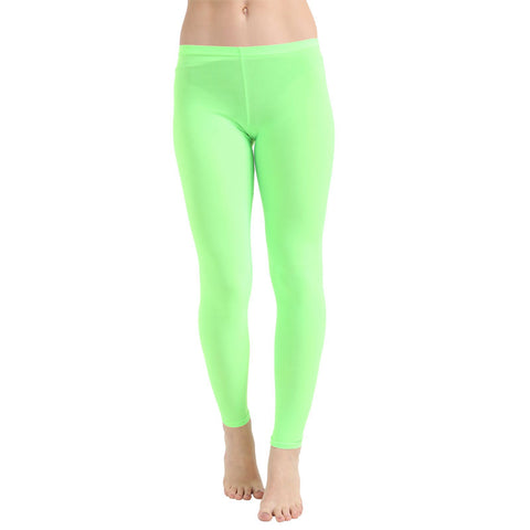 Ladies Women Green Microfiber Plain Stretchy Leggings