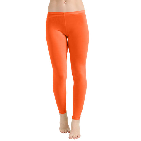 Girls Orange Microfiber Stretchy Slim Fit Leggings