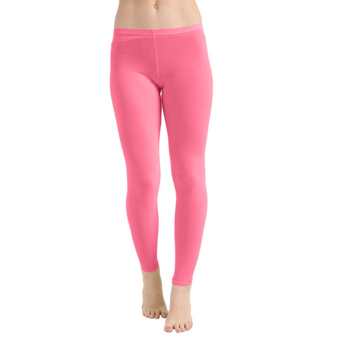 Ladies Women Pink Microfiber Plain Stretchy Slim Fit Leggings
