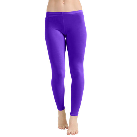 Ladies Women Purple Microfiber Plain Stretchy Slim Fit Leggings