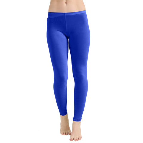 Girls Royal Blue Microfiber Stretchy Slim Fit Leggings