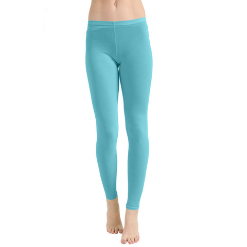 Ladies Women Turquoise Microfiber Plain Stretchy Slim Fit Leggings