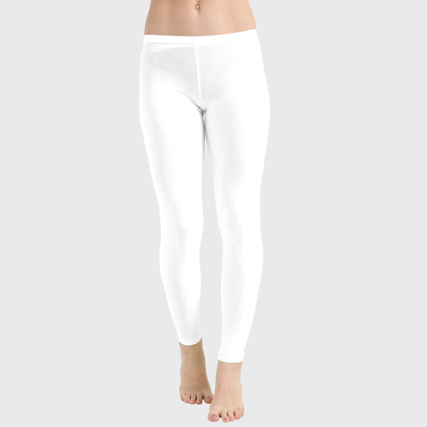 Ladies Women White Microfiber Plain Stretchy Slim Fit Leggings