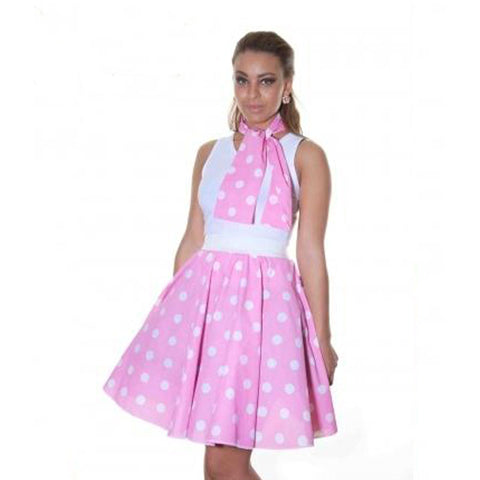 Ladies 1950's Pink White Polka Dot 22 Inches Skirt Set