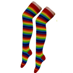 Crazy Chick Rainbow Stripe Over The Knees Socks