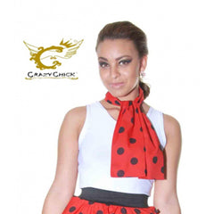 Ladies Crazy Chick Red Black Polka Dot 111cm Scarf Fancy Dress Accessory