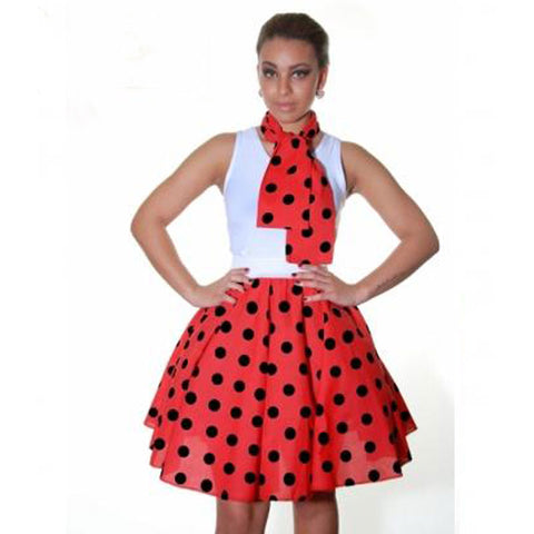 Ladies 1950's Red Black Polka Dot 22 Inches Skirt Set