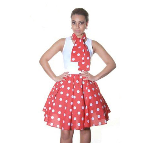 Ladies 1950's Red White Polka Dot 18 Inches Short Skirt Set
