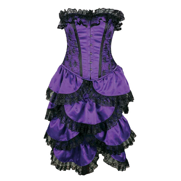 Crazy Chick Steel Boned Full Bust Bustle Purple Lace 2 Pcs Corset