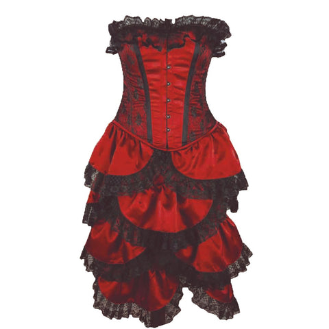 Crazy Chick Steel Boned Full Bust Bustle Red Lace 2 Pcs Corset