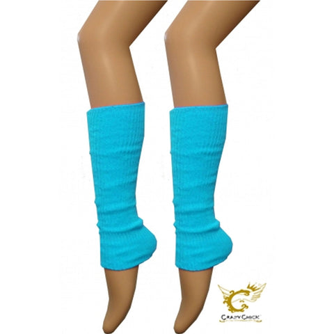 Crazy Chick Girls Turquoise Plain Leg Warmer