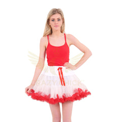Christmas White & Red TuTu Skirt With Red Vest Top Xmas Fancy Dress