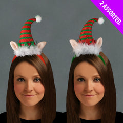 Christmas Luxury ELF Headband 2 Assorted Xmas Hat Accessory