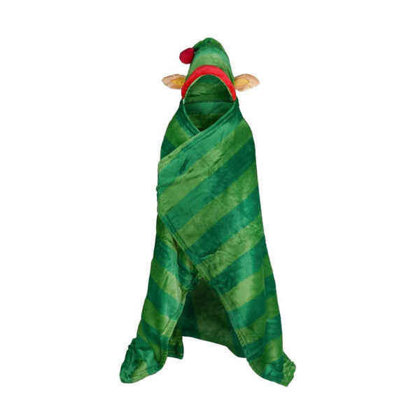 Kids ELF Hooded Throw Children Xmas Novelty Wearable Warm Soft Christmas Blanket