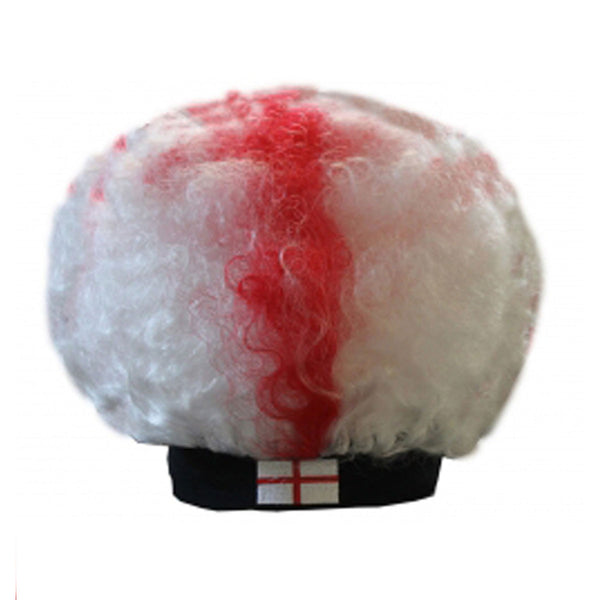 Unisex Red White Curly England Afro Hair Wig Adult Fancy Sports Wear Accessory