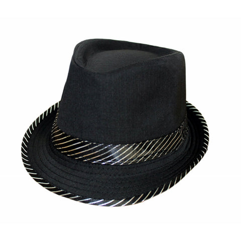 Unisex Christmas Fashion Black Trilby Hat With Silver Stripe Party Hat Accessory