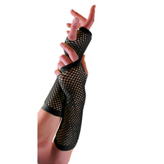 Ladies Sexy Long Fingerless Fishnet Black Gloves 80s Fancy Dress Accessory