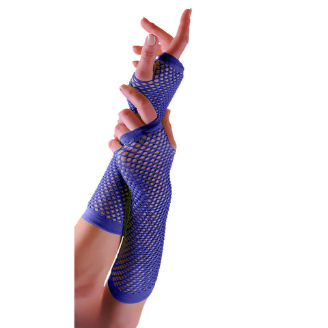 Ladies Sexy Long Fingerless Fishnet Blue Gloves 80s Fancy Dress Accessory