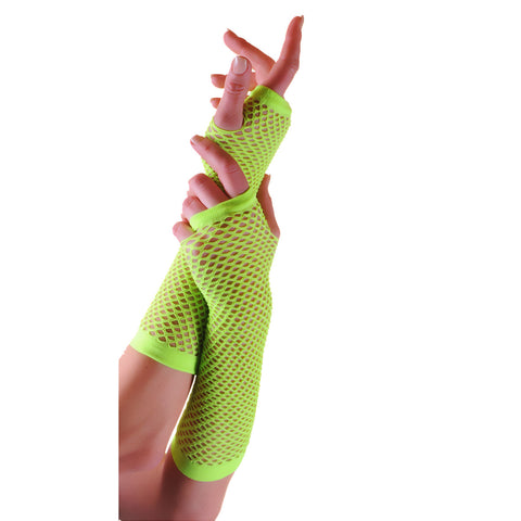 Ladies Sexy Long Fingerless Fishnet Green Gloves 80s Fancy Dress Accessory