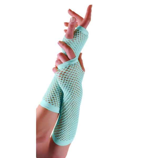 Ladies Sexy Long Fingerless Fishnet Light Blue Gloves 80s Fancy Dress Accessory