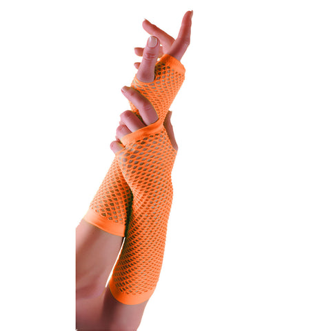 Ladies Sexy Long Fingerless Fishnet Orange Gloves 80s Fancy Dress Accessory