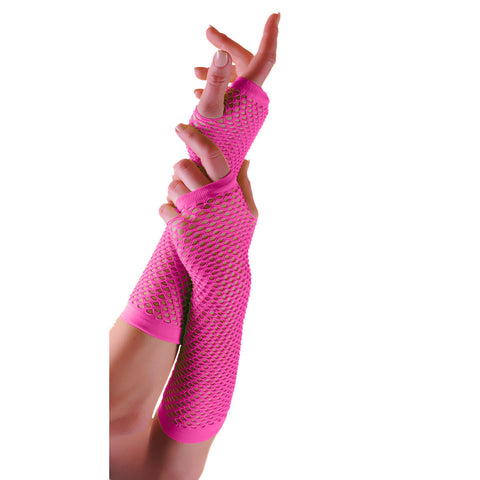 Ladies Sexy Long Fingerless Fishnet Pink Gloves 80s Fancy Dress Accessory