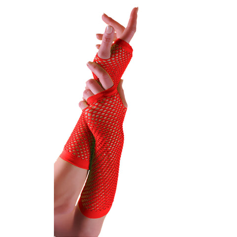 Ladies Sexy Long Fingerless Fishnet Red Gloves 80s Fancy Dress Accessory