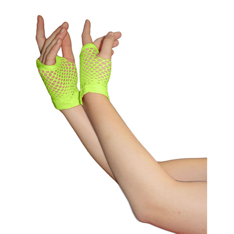 Ladies Sexy Short Fingerless Fishnet Green Gloves 80s Fancy Dress Accessory