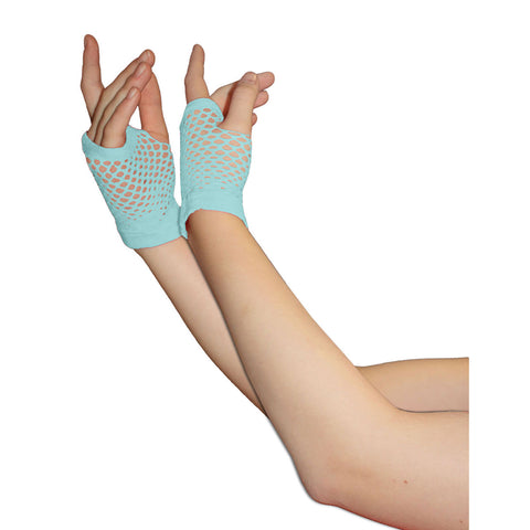Ladies Sexy Short Fingerless Fishnet Light Blue Gloves 80s Fancy Dress Accessory