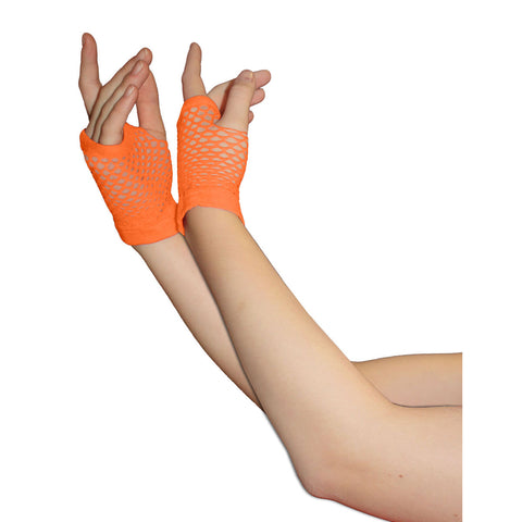 Ladies Sexy Short Fingerless Fishnet Orange Gloves 80s Fancy Dress Accessory