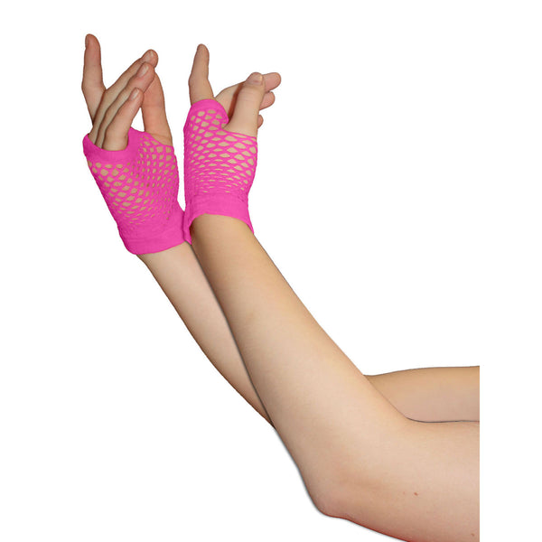 Ladies Sexy Short Fingerless Fishnet Pink Gloves 80s Fancy Dress Accessory