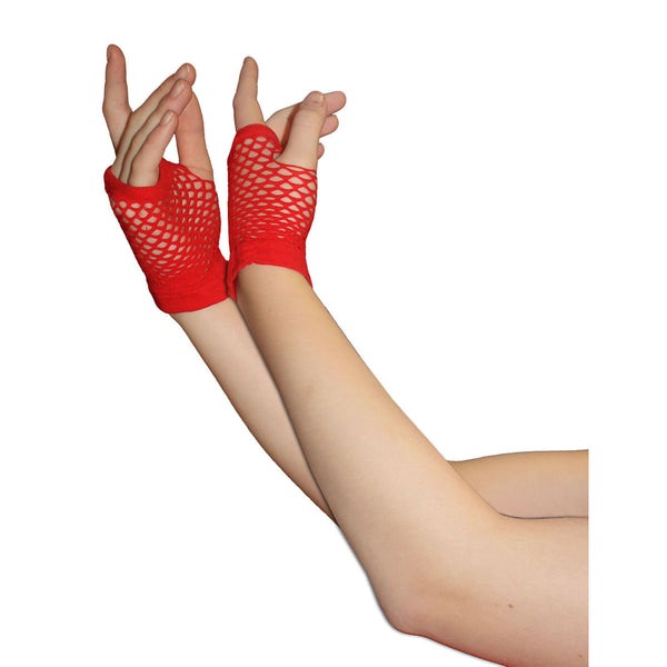 Ladies Sexy Short Fingerless Fishnet Red Gloves 80s Fancy Dress Accessory