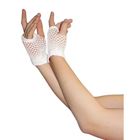 Ladies Sexy Short Fingerless Fishnet White Gloves 80s Fancy Dress Accessory