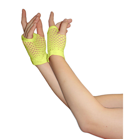 Ladies Sexy Short Fingerless Fishnet Yellow Gloves 80s Fancy Dress Accessory