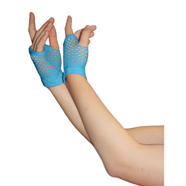 Ladies Sexy Short Fingerless Fishnet Turquoise Gloves 80s Fancy Dress Accessory