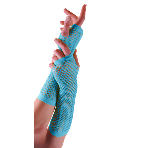 Ladies Sexy Long Fingerless Fishnet Turquoise Gloves 80s Fancy Dress Accessory